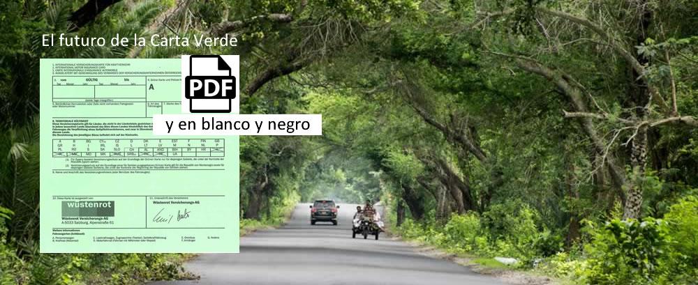 Carretera con follaje de bosque, un coche y una moto tres ruedas en transito. Documento de arta verde con icono de PDF negro