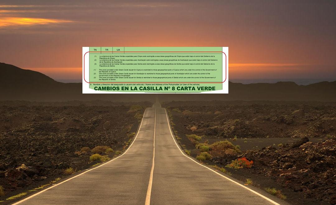 """Cambios en el texto de la casilla nº 8 de la """"Carta Verde"""""""